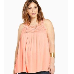 Torrid Gauze Crochet Tank Top Orange Size 0